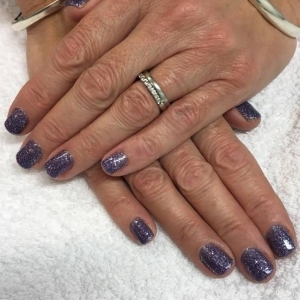 cnd shellac purple glitter nails alluring amethyst