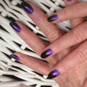 cnd shellac rock royalty additives purple gradient nails